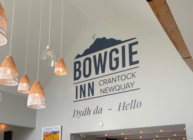 Huge new sign inside the entrance way of The Bowgie.